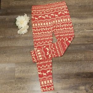 lularoe fair isle leggings red TC plus size tall